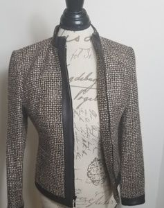 Wool blend blazer jacket brown and leather strap